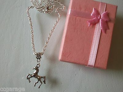 New Childrens Silver 18 Inch Necklace ,  Horse Pony Pendent Gift Box (Birthday)