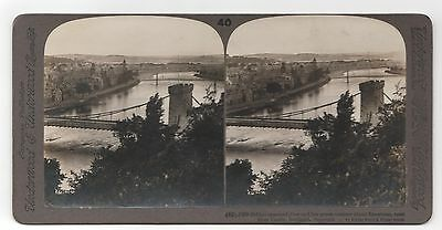 Stereoview View Of Bridge-Spanned River Inverness Seen From The Castle Scotland