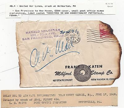 1948 Usa Charred Cover & Memo Crash Mail Received In Bad Condition Pottsville Pa