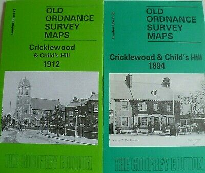 OLD Ordnance Survey 2 Maps Cricklewood Childs Hill  London 1894/1912 Special