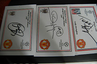 Man Und Champs League Final Signed Cards By Sheringham, Solksher & Yorke