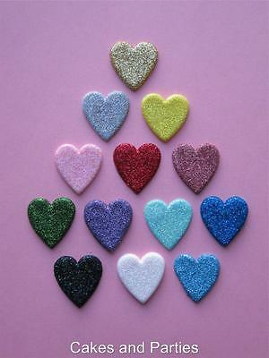 20 X EDIBLE GLITTER HEARTS. CAKE DECORATIONS - VARIOUS COLOURS - SMALL 2cm