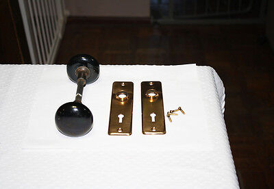 Vintage Door Brown Ceramic Hardware Set Two Knobs and Two Plates Highly Ornate