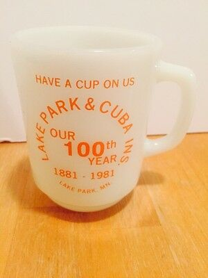 Vintage Anchor Hocking Advertising Cup Mug Lake Park Minnesota Cuba Ins. 1981