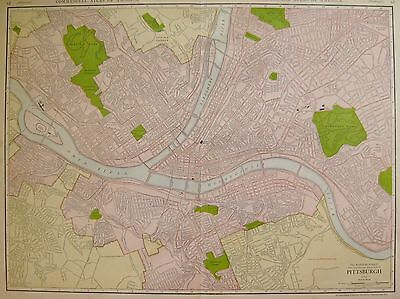 1914 Antique PITTSBURGH MAP of Pittsburgh Pennsylvania Rare Poster Size Map 3332