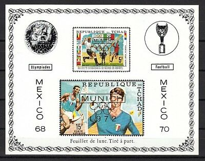 * Chad, Scott cat. C88 A. Mexico Soccer issue with Tab o/printed MUNICH 72.