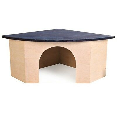 NEW Trixie Blue Roof Corner Wooden Mice Hamster Rabbit Guinea Pig Pet House