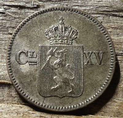 """1869 NORWAY 3 Skilling """"King Carl the 15th"""" Attractive Patina Nice Silver Coin"""