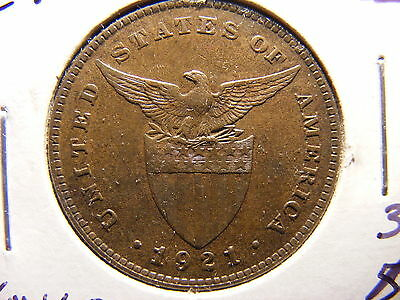 Philippines Centavo, 1921, Light Brown Uncirculated