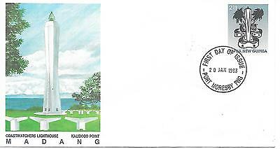 Coastwaters Lighthouse, Madang -FDC (pre-paid envelope) 20.01.93