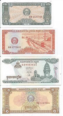 Cambodia 0.2, 2.0, 1, 50, 5 different 100's, 500, 2000 Riels Unc Banknotes