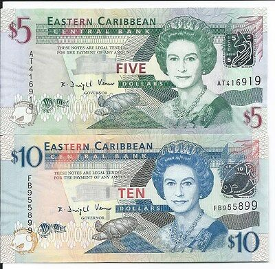 East Caribbean States 5 & 10 Dollars, Uncirculated  Banknotes