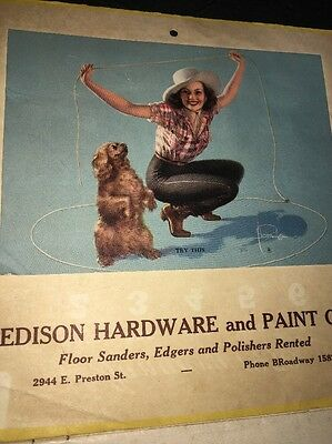 Pin Up Girl Calendar Rolf Armstrong Cowgirl Advertising Edison Paint Baltimore