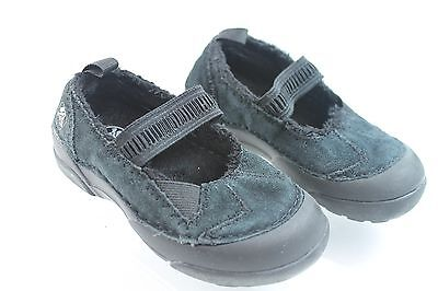 Girls CROCS Black Suede Mary Style Shoes Sz C9 Length = 6 in