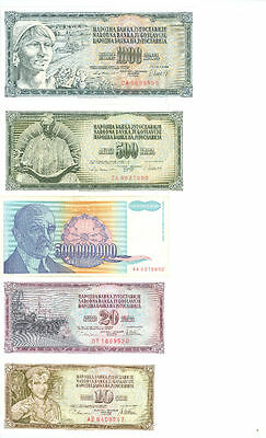 Yugoslavia 20 different banknotes