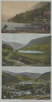 Lot of 3 c1910 Glendalough in County Wicklow Ireland postcards - lakes & village