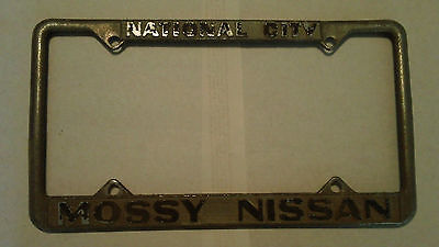 National City CA Mossy Nissan Dealership License Plate Frame Metal Embossed
