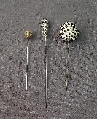 3 Antique Rhinestones, Beaded & Simulated Pearls Hat Pins Lot