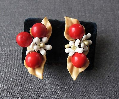 Vintage 40's Celluloid & Wooden Flowers & Cherries Large Earrings