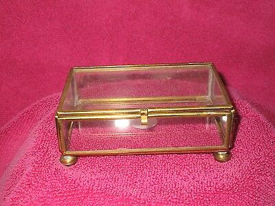 1 Vintage Square Brass Glass Jewelry Trinket Box Miniature Collectables Vanity