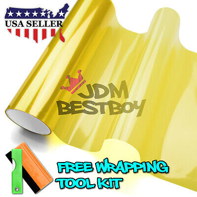 "*12""x48"" Glossy Golden Yellow Tint Headlights Fog Lights Sidemarker Vinyl Film"