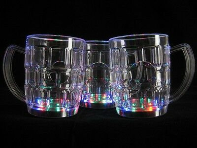 12 pcs Flashing LED Beer Mug Multi Color Blinking Light Up Barware Party Supply