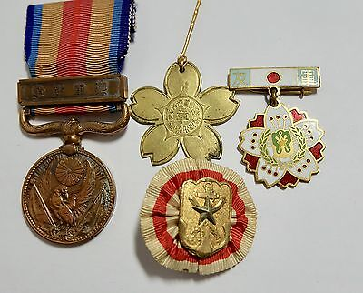 1939 Ww2 China Medal Badge 1894 Blossom Badge Reservist Japanese Japan