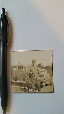 Original Wwii Japanese Photo: Army Soldier With War Helmets!!