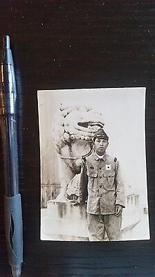 Original Wwii Japanese Photo: Army Soldier, Chinese Fu Dog!!