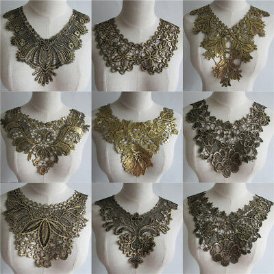 golden Embroidered Lace Collar Neckline Applique Embroidery Sewing on Patches