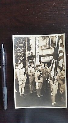 Original Wwii Japanese Photo: Army Soldiers Going To War, Flag!!
