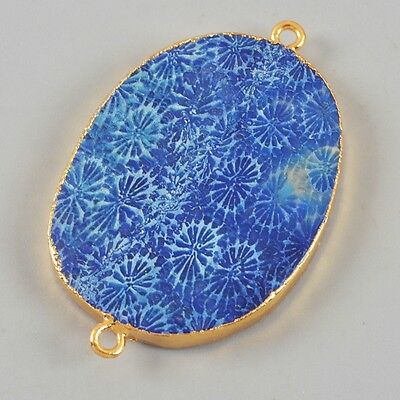 Blue Coral Fossil Connector Gold Plated H80884