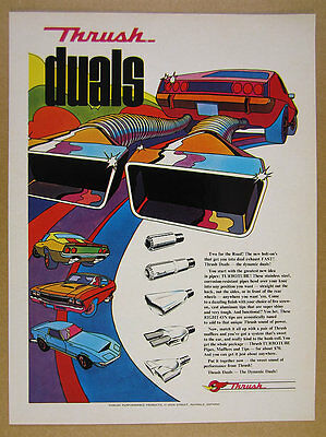 1972 Thrush DUALS Dual Exhaust TURBOTUBE Pipes muscle car art vintage print Ad