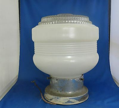 Vintage Ceiling Light Clear & White Glass