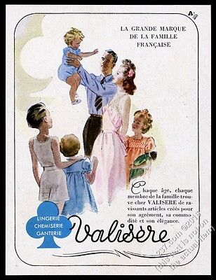 1944 Valisere lingerie family color art French vintage ad