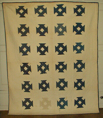 Victorian Calico Quilt Primitive Blue White Hole In Barn Cotton  Patchwork Hand