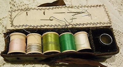 Antique Sewing Needle Case Leather Make Do Threads Thimble