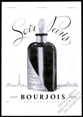 1937 Evening in Paris perfume bottle photo Bourjois BIG French vintage print ad