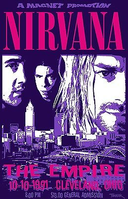 Nirvana Live at Reading Poster 13x19 inches
