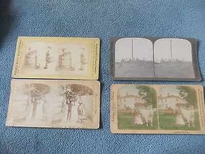 4 x Very old USA American Stereoview card of varying subjects