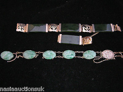 Lot of two Vintage Chinese Jade Bracelets for repair, one marked 9ct gold