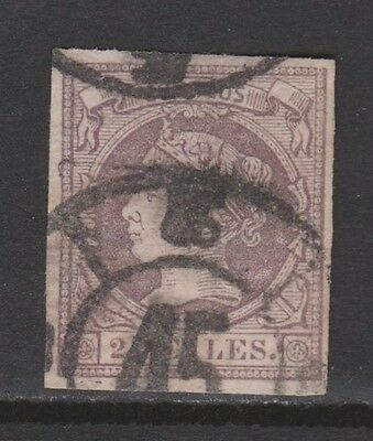 Spain 1860 Queen Isabella Ii 2 Reales. Carriage Wheel 45 Cancelled. To See