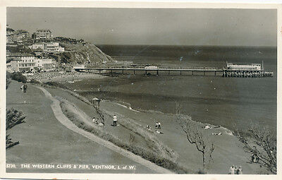 The Western Cliffs and Pier, Ventnor, Isle of Wight - Early RP Postcard