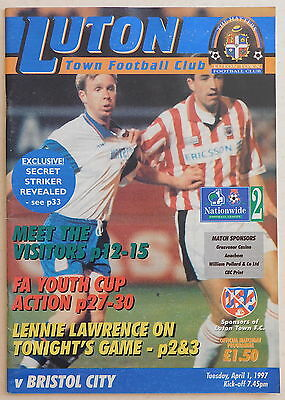 LUTON TOWN Vs BRISTOL CITY Programme - 1 April 1997 - Division 2