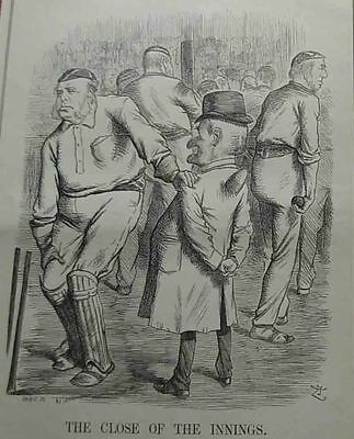 antique cricket print 1890 close of the innings full page engraving
