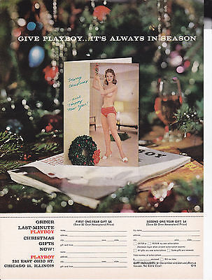 Original Print Ad-1962 Give Playboy it's always in season-Merry Christmas-Sexy