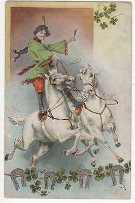 VINTAGE POSTCARD,WOMAN RIDING WHITE CIRCUS HORSES,CHAMPAGNE,KViB 12,SERIE 700