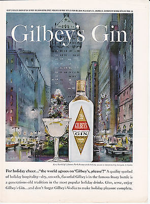 Original Print Ad-1963 For Holiday Cheer-The World Agrees on GILBEY'S PLEASE-GIN