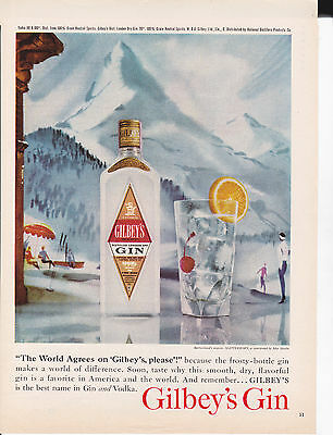 Original Print Ad-1961 GILBEY'S is the best name in Gin & Vodka-The World Agrees