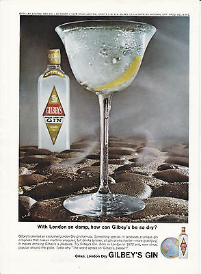 Original Print Ad-1964 With London so damp, how can GILBEY'S be so dry? /DRY GIN